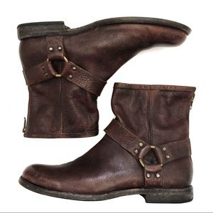 Frye boots round toe harness strap with back zip